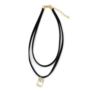 Fashion double pendant square choker